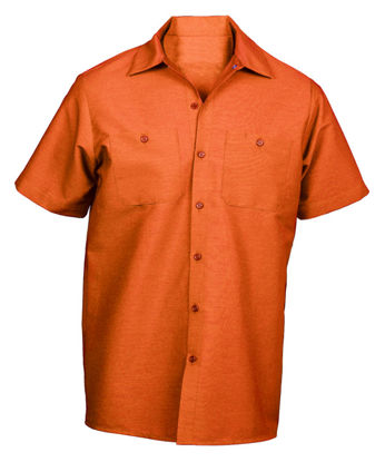 Picture of Orange (DISCONTINUED COLOR) Wrinkle-Resistant Cotton Work Shirt- Short Sleeve