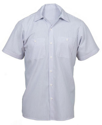 Picture of Charcoal/White Stripe Work Shirt- Short Sleeve- Union Made in the USA- 2XL Long