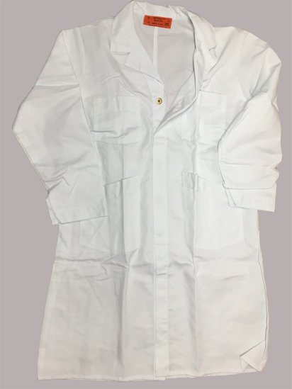 Picture of White Blended Shop Coat/Butcher Frock-Brass Button Front Closure (DISCONTINUED STYLE)