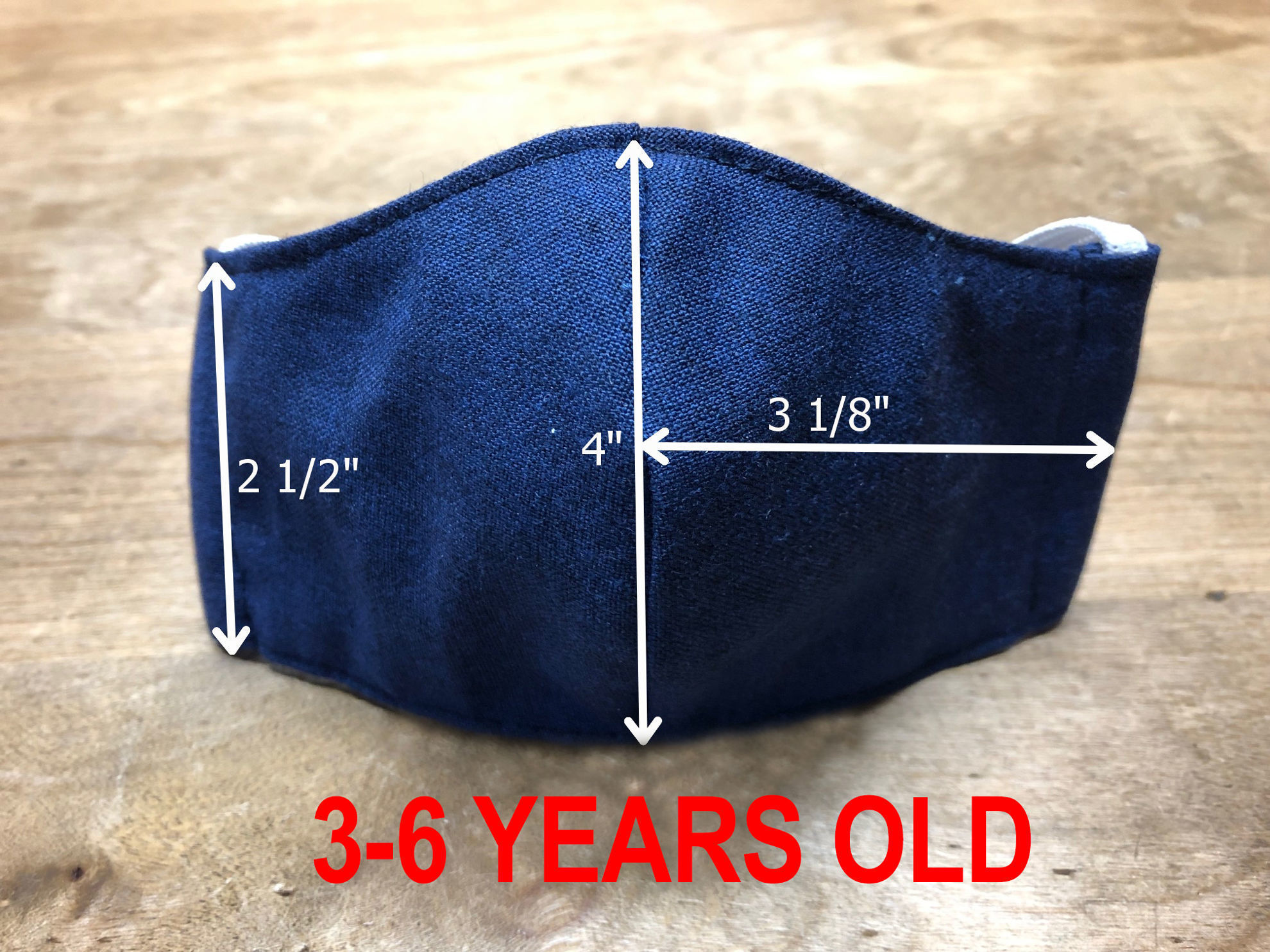 Picture of Face Mask (elastic ear loops) for CHILDREN-2 Sizes- with Filter Pocket-Washable-Double Layer-Follows CDC Guidelines