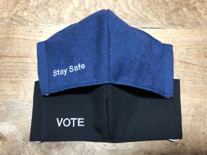Picture of VOTE, Stay Safe, or Customized Phrase Embroidered Face Mask (elastic ear or head loops) for MEN OR WOMEN with Filter Pocket-Washable-Double Layer-Follows CDC Guidelines