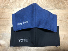 Picture of VOTE, Stay Safe, or Customized Phrase Face Mask with Filter Pocket for Men or Women